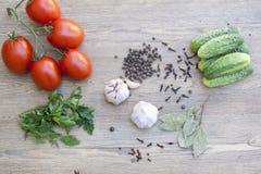 Świezi pomidory, ogórek, czosnek i pikantność na drewnianym stole, Obrazy Royalty Free