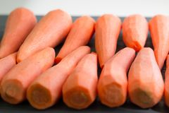 Świezi rozjaśniający żółci pomarańczowej czerwieni marchwiani warzywa przygotowywali dla gotować organicznie weganinu jedzenie fotografia stock