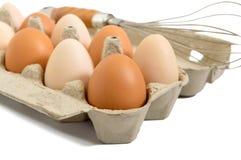 Świezi surowi kurczaków jajka w kartonu pudełku, odosobnionym na białym tle Fotografia Stock
