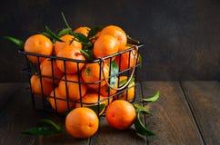 Świezi tangerine clementines z liśćmi na ciemnym drewnianym tle obrazy stock