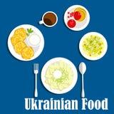 Świezi ukraińscy kuchni warzywa, napój i Obrazy Royalty Free