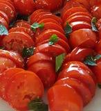 Świezi włoscy pomidory z basilico Zdjęcia Royalty Free