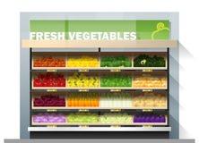 Świezi warzywa dla sprzedaż pokazu na półce w supermarkecie Ilustracji