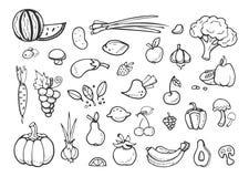 Świezi warzywa i owocowe wektorowe doodle ikony zdrowa ręka rysujący łasowanie menu elementy ilustracji