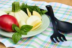Świezi warzywa na talerzu z kuchennym materiałem na stole z w kratkę tkaniną obraz stock