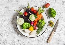 Świezi warzywa - oberżyna, rzodkiew, dzwonkowy pieprz, pomidory, macierzanka, oregano w emaliowym pucharze na lekkim tle Zdjęcia Royalty Free