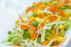 Świezi warzywa sałatkowi z kapuścianą marchewką i zielonymi grochami zdjęcie royalty free