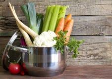 Świezi warzywa w garnku na roczniku wsiadają Obrazy Royalty Free