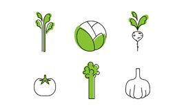 Świezi warzywa wykładają ikony ustawiać, kapusta, greenery, rzodkiew, pomidor, czosnek, brokuły, asparagus, organicznie zdrowy je royalty ilustracja
