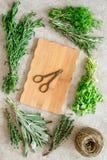 Świezi ziele, greenery dla pikantność i kucharstwo na kamiennego biurka tła odgórnym widoku Fotografia Stock
