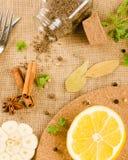 Świezi ziele i pikantność (czosnek, pieprz, podpalani liście, kumin, cinn Obrazy Royalty Free