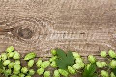 Świezi zieleni chmiel rożki na starym drewnianym tle Składnik dla piwnej produkci Odgórny widok z kopii przestrzenią dla twój tek Fotografia Royalty Free