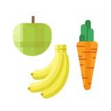 Świezi zieleni jabłczani marchewki i banana wektorowi ilustracyjni zdrowie odizolowywali wyśmienicie świeżość deser, witaminę org ilustracja wektor