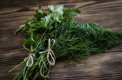 Świezi zieleni koperu i pietruszki ziele na nieociosanym drewnianym stole Odgórny widok z kopii przestrzenią Zdjęcia Royalty Free