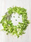 Świezi zieleni ziele i sałatkowa kobieta stawiają czoło na witki drewnianym tle, odgórny widok, zdrowy jedzenie Obraz Stock