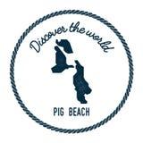 Świni plaży mapa w roczniku odkrywa świat ilustracja wektor