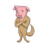 Świni pozyci Psie ręki Krzyżowali kreskówkę Zdjęcie Royalty Free