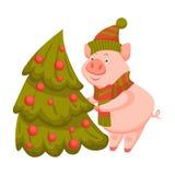 Świnia dekoruje jedlinowego drzewa dla zima wakacje świętowania royalty ilustracja