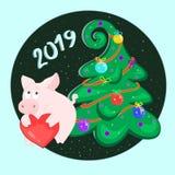 Świnia i choinka z piłkami szczęśliwego nowego roku, Symbol 2019 Wschodni horoskop 2007 pozdrowienia karty szczęśliwych nowego ro ilustracji