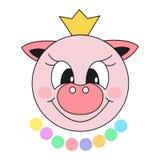 świnia Odosobniony kreskówka nowego roku symbol Wektorowa kolor ilustracja puste miejsce dla desing ilustracja wektor