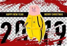świnia prosiątko wieprz Kung fu, karate kopnięcie 2019 Chińskich nowy rok symboli/lów Postać z kreskówki odizolowywający na biały ilustracja wektor