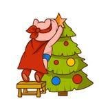 Świnia ubierał jako bohater stoi na krześle i dekoruje choinki, Zhumanizowany zwierzę Kreskówka wektorowy projekt ilustracja wektor
