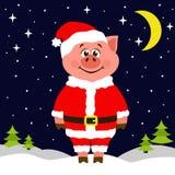Świnia w Święty Mikołaj kostiumowej pozyci na śniegu przy nocą Półksiężyc i gwiazdy błyszczą ilustracji