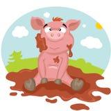 Świnia w błocie Obrazy Royalty Free