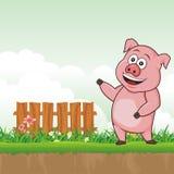 Świnia z śliczną kreskówki ilustracją ilustracji