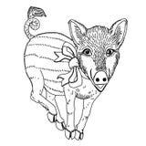 Świnia z tasiemkowym czarny i biały kreskowego rysunku szablonem dla grawerować, broderii, palący za drzewie i inny kreatywnie da obrazy royalty free
