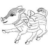 Świnia z tasiemkowym kreskowego rysunku szablonem dla grawerować, broderii, palący za drzewie i inny kreatywnie dalej obrazy stock