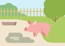 Świniowaci kałuży borowinowego mieszkania projekta kreskówki wektoru zwierzęta gospodarskie royalty ilustracja