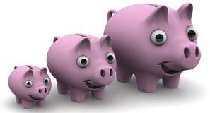 Świniowaci prosiątko banki wykładający w górę z rzędu Obrazy Royalty Free
