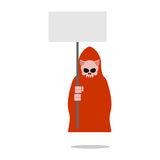 Świniowata śmierć w czerwieni ubraniach trzyma pustego talerza royalty ilustracja