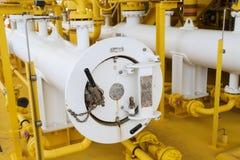 Świniowata wyrzutnia w ropa i gaz przemysle, Czyści drymby kreskowy wyposażenie w ropa i gaz przemysle, Czyści up piszczeć proces Zdjęcie Royalty Free