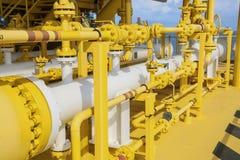 Świniowata wyrzutnia w ropa i gaz przemysle, Czyści drymby kreskowy wyposażenie w ropa i gaz przemysle, Czyści up piszczeć proces Zdjęcia Stock