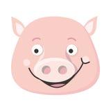 Świniowatej twarzy Wektorowa ilustracja w Płaskim projekcie Zdjęcia Stock