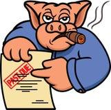 Świniowaty długu poborca, kredytodawca z Past lub - należna oświadczenie kreskówka fotografia stock