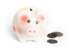 Świniowaty pieniądze oszczędzanie Zdjęcia Royalty Free