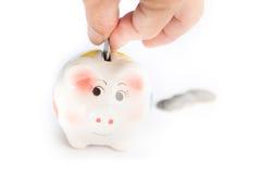 Świniowaty pieniądze oszczędzanie Obraz Royalty Free