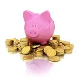 Świniowaty prosiątko bank na złocistych monetach z odbiciem Fotografia Stock