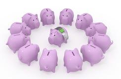 Świniowaty prosiątko bank z czekiem i terminal Zdjęcie Stock