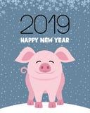 Świniowaty symbol nowy rok ilustracja wektor