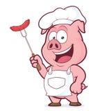 Świniowaty szef kuchni trzyma kiełbasę na rozwidleniu Fotografia Stock