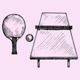 Świst Pong, tenisa stół, kanty i piłka, ilustracja wektor