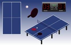 Śwista Pong boiska isometric stół, piłka, kanty i tablica wyników, Śwista Pong boiska odgórny widok odosobniony ilustracji