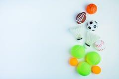 Śwista pong piłka, futbol zabawka, baseball zabawka, Shuttlecock, Tenisowy b Obrazy Stock
