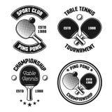 Śwista pong ustawiający cztery wektorowego rocznika emblemata ilustracja wektor