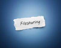 Świstek poszarpany papier z słowem - Filesharing fotografia royalty free