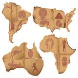 Świstki stary papier w postaci Ameryka Południowa, Afryka, Austra Obrazy Royalty Free